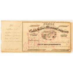 Porter Gold & Silver Mining Company Stock Certificate, 1864