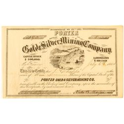 Porter Gold and Silver Mining Co. Certificate, 1864