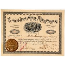 Gold Bank Mining & Milling Co. Stock Certificate, Butte County, CA, 1890