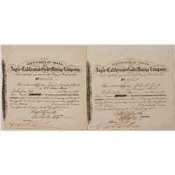 Anglo-Californian Gold Mining Company Stock Certificates (California Gold Rush)
