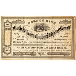 Golden Gate Gold, Silver & Copper Mining Co. Stock Certificate, Calaveras Co., 1864
