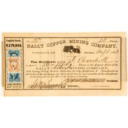 Rally Copper Mining Company Stock Certificate, 1863