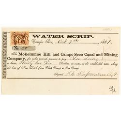 Rare Mining Water Scrip to Chinese Merchant, Campo Seco, 1867