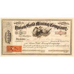 Union Gold Mining Company Stock Certificate, Carson Hill, 1871