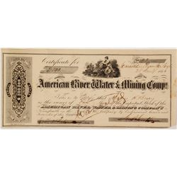 American River Water & Mining Company Stock Certificate