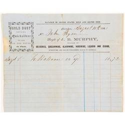 1863 Cherokee, California Billhead for Gold Dust Buyer