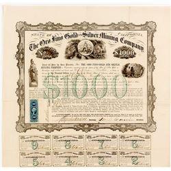 Oro Fino Gold & Silver Mining Company $1000 Bond