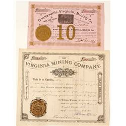 Two Different Coulterville, California Mining Stock Certificates (1884 & 1889)