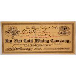 Big Flat Gold Mining Company Stock Certificate, Del Norte Co., CA 1880