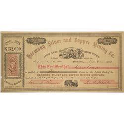 Harmony Silver & Copper Co. Stock Certificate, Clarksville, California, 1863