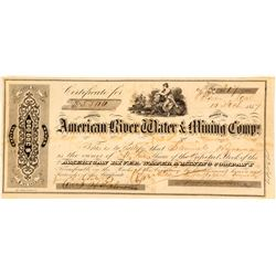 American River Water & Mining Co. Stock Certificate, Folsom (Gold Rush)