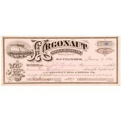 Argonaut Mill & Mining Company Stock Certificate, 1880