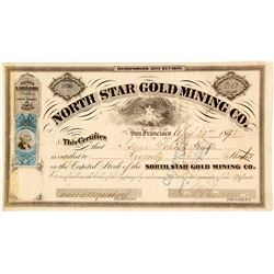 North Star Gold Mining Co. Stock Certificate, Grass Valley, 1872