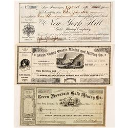 Three Rare Grass Valley Mining Stock Certificates