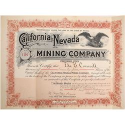 California-Nevada Mining Company Stock Certificate, 1903