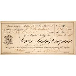 Loretto Mining Company Stock Certificate - a G. T. Brown Lithograph