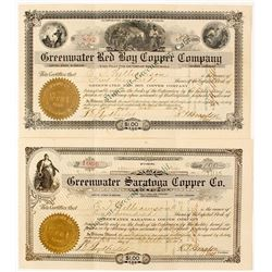 Two Different Greenwater, California Mining Stock Certificates