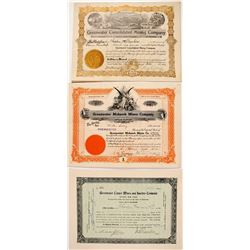 Three Greenwater Mining Stock Certificates