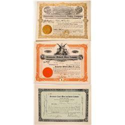 Three Greenwater Mining Stock Certificates