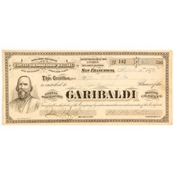 Garibaldi Mining Company Stock Certificate, 1876, Inyo County, G.T. Brown Lith.