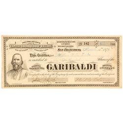Garibaldi Mining Company Stock Certificate, 1876, Inyo County, G.T. Brown Lith.