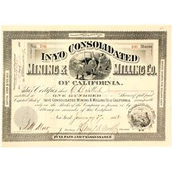 Inyo Consolidated Mining & Milling Co. of California Stock Certificate, Panamint, 1882
