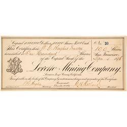 Loretto Mining Company Stock Certificate, Darwin, CA 1876 (G.T. Brown)