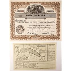 Gold Producers Inc. Stock Certificate and 1/2 Page Map