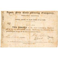 Agua Fria Gold Mining Company Stock Certificate, 1853, California Gold Rush