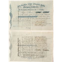 Ave Maria Gold Quartz Mine Stock Certificate (Gold Rush)