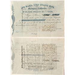 Ave Maria Gold Quartz Mine Stock Certificate (Gold Rush)