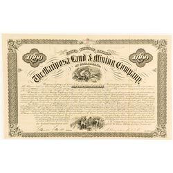 Mariposa Land & Mining Company $1,000 Bond, 1875