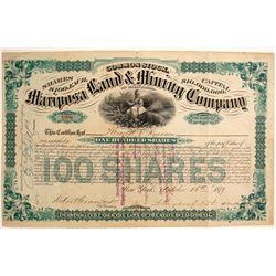 Mariposa Land & Mining Company Stock Certificate, 1879