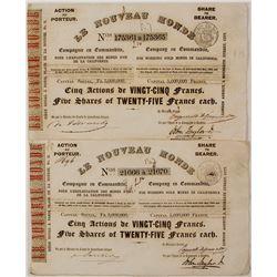 Pair of Le Nouveau Monde Stock Certificates