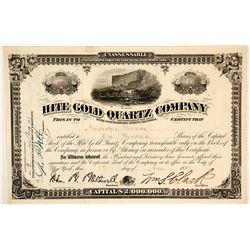 Hite Gold Quartz Company Stock Certificate, 1881, Hite's Cove, CA (near Yosemite)