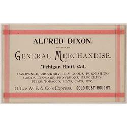 Alfred Dixon, General Merchandise, Michigan Bluff Business Card