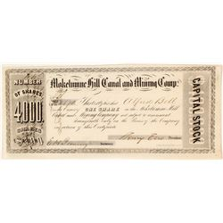 Mokelumne Hill Canal & Mining Company Stock Certificate, California Gold Rush