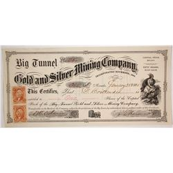 Big Tunnel Gold & Silver Mining Co. Stock Certificate, Nevada City, CA 1865