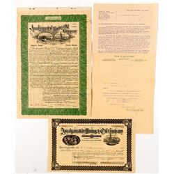 Murchie, Amalgamated, Empire, California & New York Oil, etc. Letter and Amalgamated Oil Stock