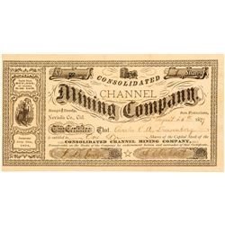 Consolidated Channel Mining Co. Stock Certificate, Roughy & Ready, 1879