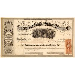 Enterprise Gold & Silver Mining Co. Stock Certificate, Meadow Lake District, 1866