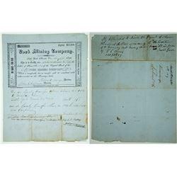 York Mining Co. Stock Certificate, 1852, Nevada County, California Gold Rush