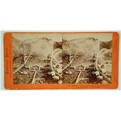 Hydraulic Mining near French Corral. Piping the Bank Stereoview by Thomas Houseworth