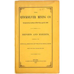 Quicksilver Mining Co. Annual Report, New Almaden, 1874