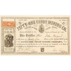 Fifty-One Union Mining Co. Stock Certificate, 1864, Placer County