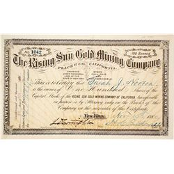 Rising Sun Gold Mining Company Stock Certificate, Placer County, CA, 1880