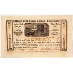 The South Fork Canal Company Stock Certificate, 1853, California Gold Rush