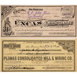 Two Plumas and Sierra Counties, CA Mining Stock Certificates