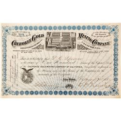 Cherokee Gold Mining Co. Stock Certificate, Greenville, CA 1881