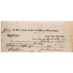 Miners' Consumnes & Deer Creek Water & Mining Co. Promissory Note, Prairie City, CA, 1854